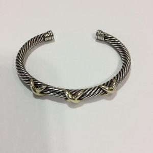David Yurman Triple X Silver & Gold Cable Bracelet